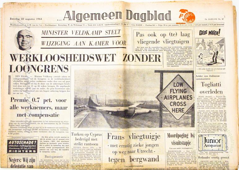 Krant geboortedag Algemeen Dagblad (10-05-1972), een mooi cadeau voor jubileum of verjaardag