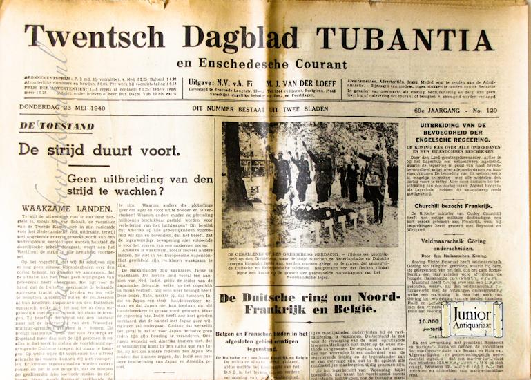 krant geboortedag titel Twentsch dagblad Tubantia en Enschedesche courant