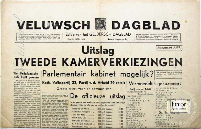 krant geboortedag titel Veluwsch Dagblad