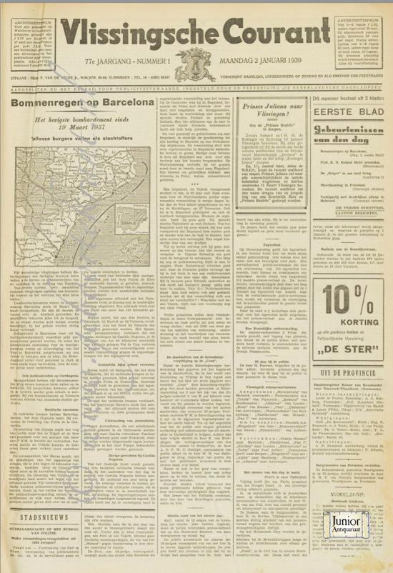 Krant geboortedag Vlissingsche courant (26-03-1932), een mooi cadeau voor jubileum of verjaardag