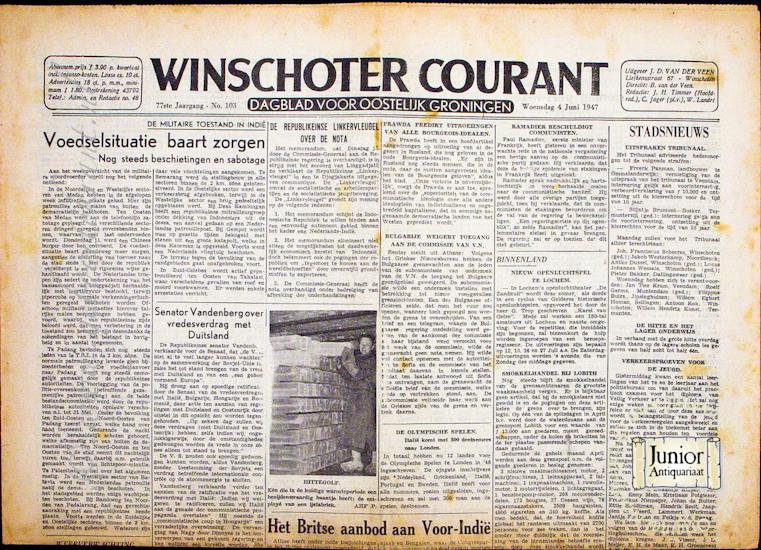 Krant geboortedag Winschoter Courant (22-07-1971), een mooi cadeau voor jubileum of verjaardag