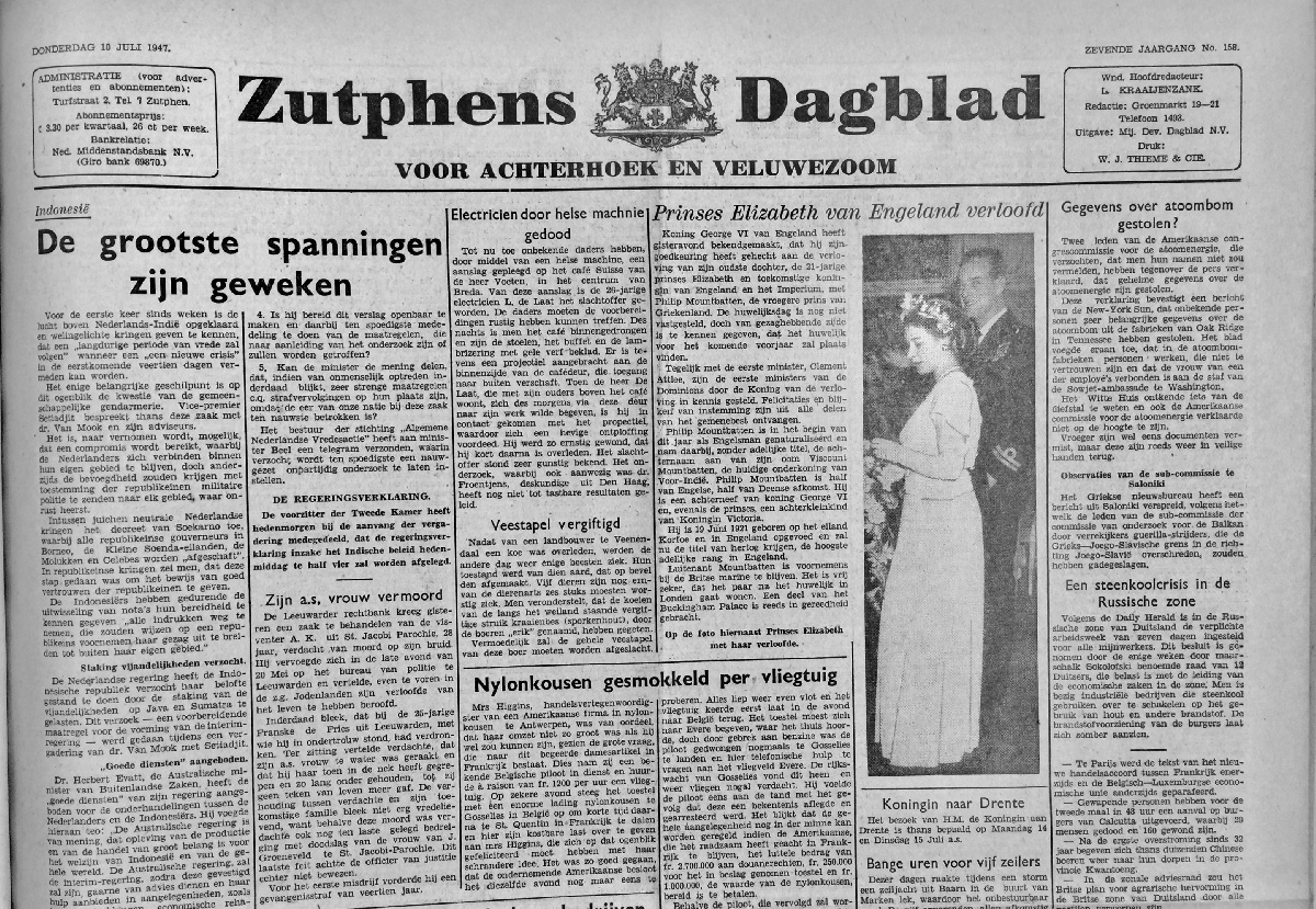 krant geboortedag titel Zutphens dagblad