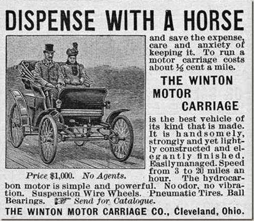 Eerste advertentie Amerikaanse auto