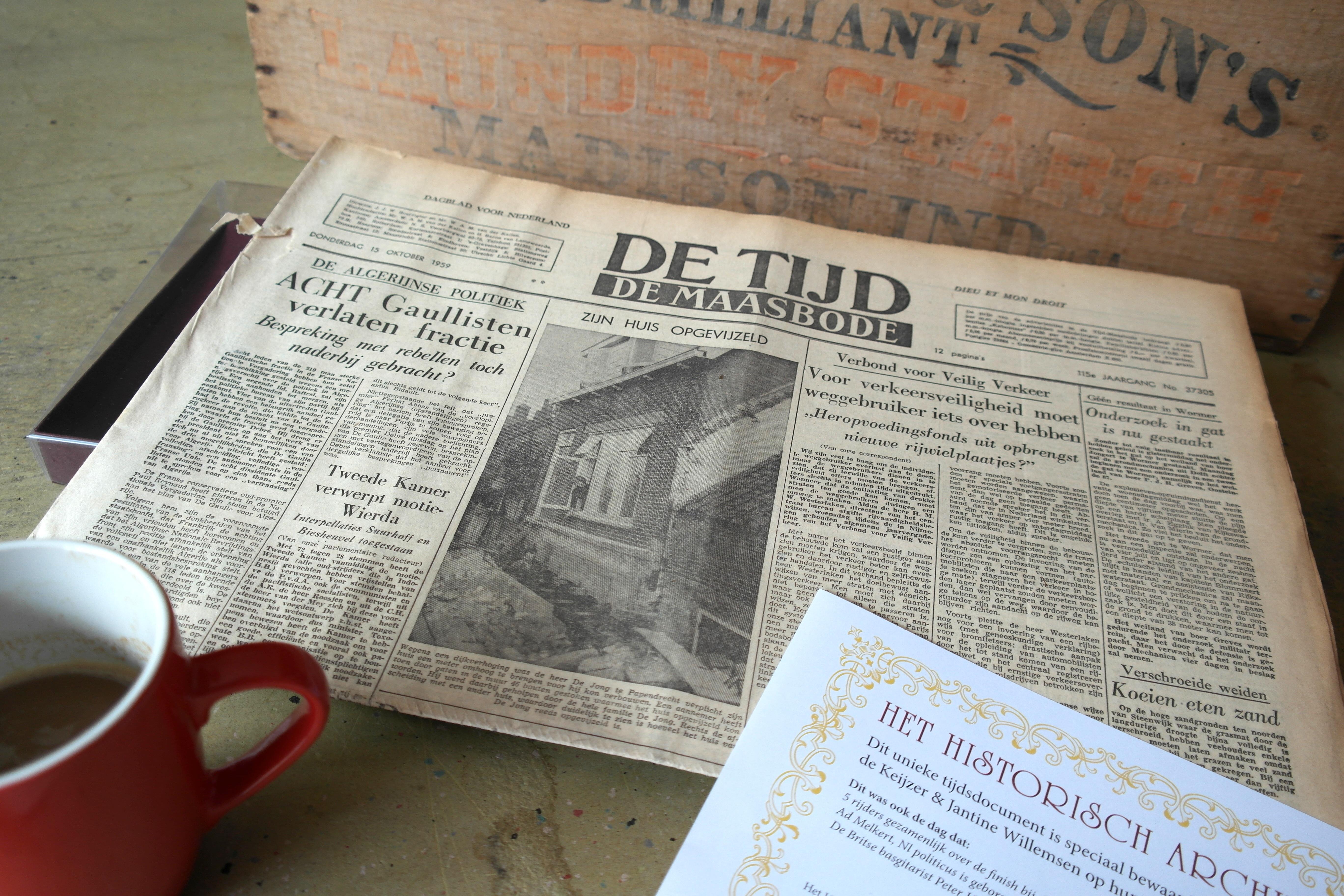 Originele kranten kopen bij 'Krant van uw Geboortedag'