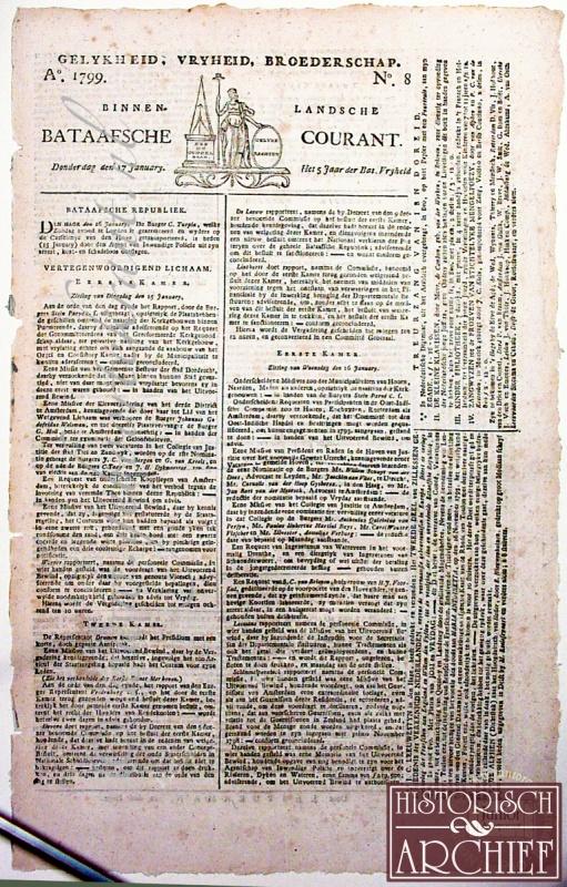 Historische voorpagina als aandenken aan speciale datum