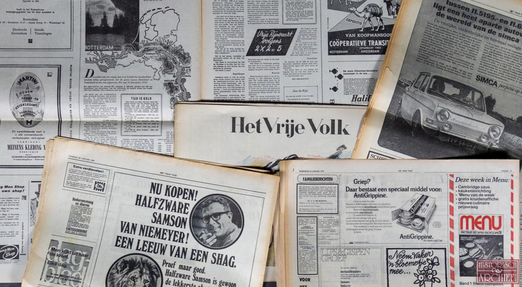 Krant geboortedag van Het vrije volk