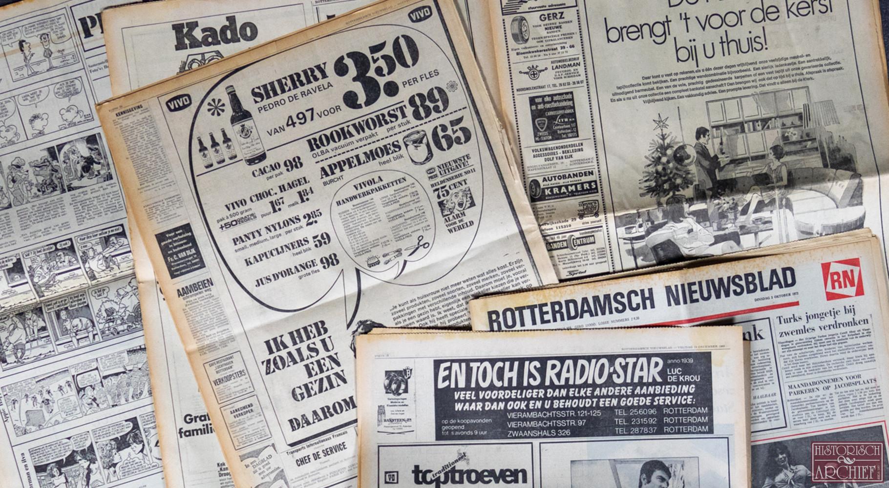 Krant geboortedag van Rotterdams Nieuwsblad