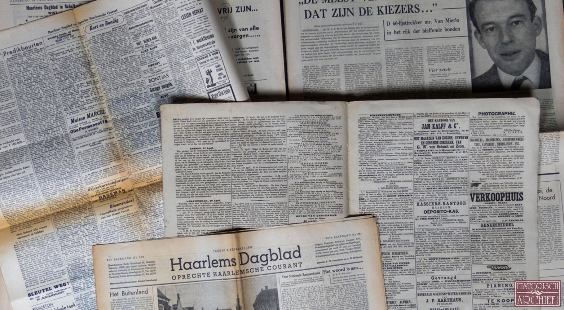 Krant geboortedag van Haarlems Dagblad