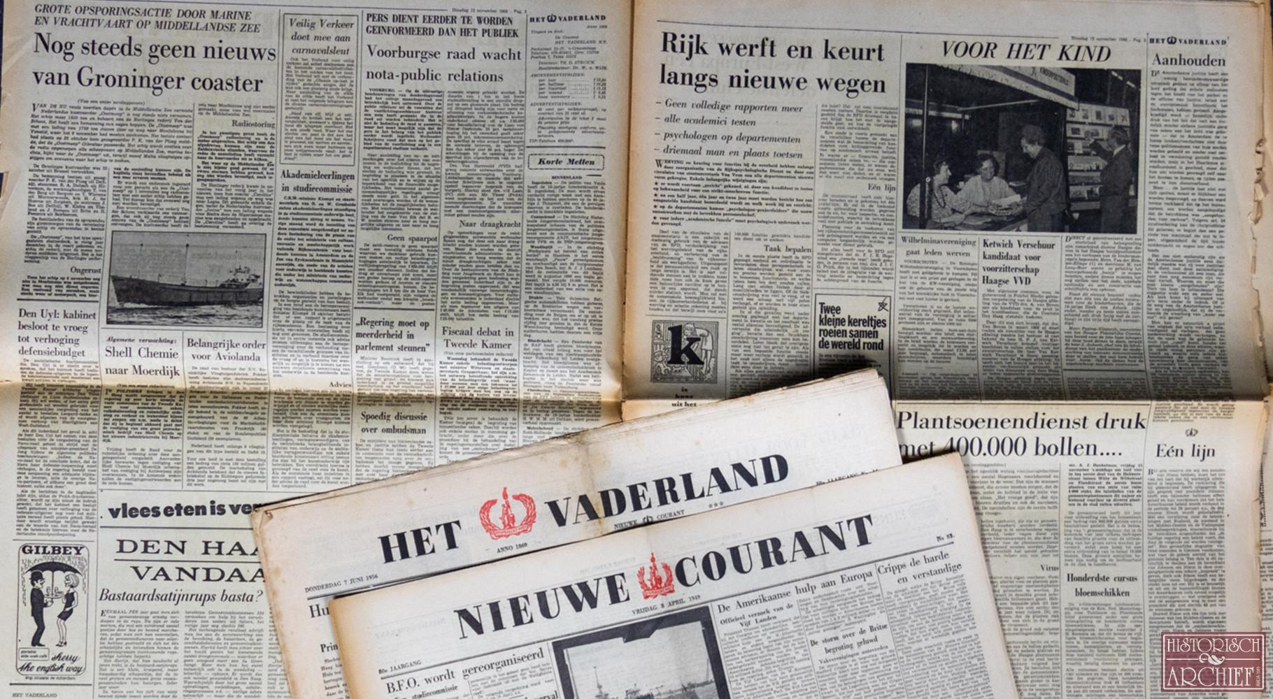 Krant geboortedag van Het Vaderland