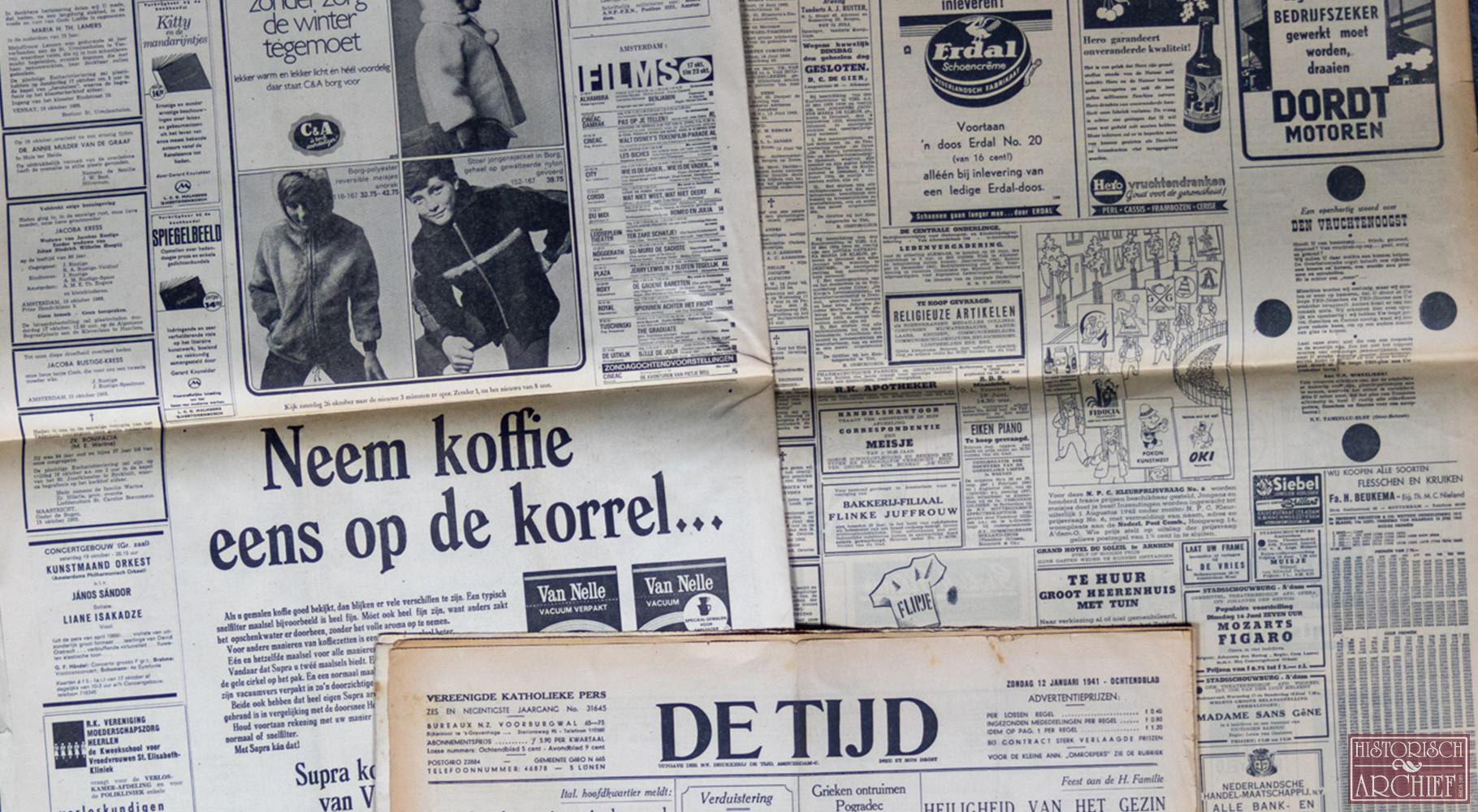 Krant geboortedag van De Tijd