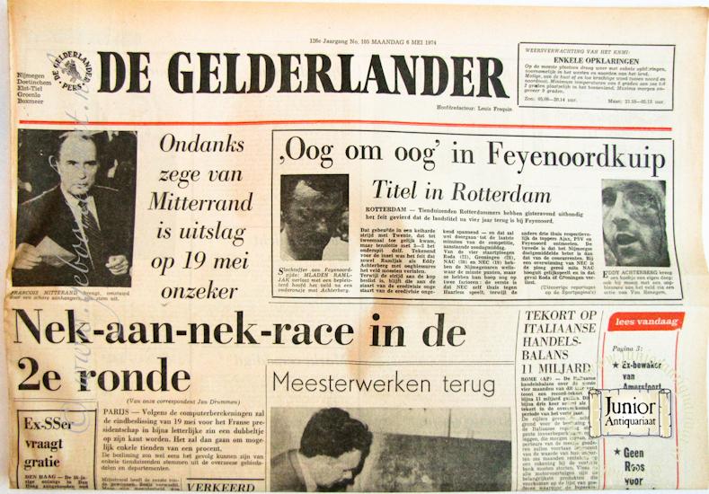 Krant geboortedag De Gelderlander (22-07-1971), een mooi cadeau voor jubileum of verjaardag