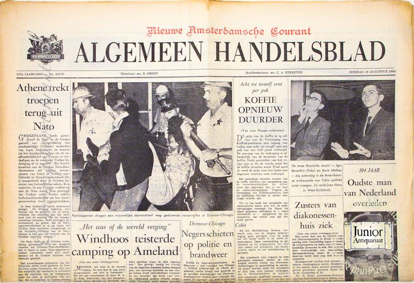 Krant geboortedag Algemeen Handelsblad (25-11-1924), een mooi cadeau voor jubileum of verjaardag