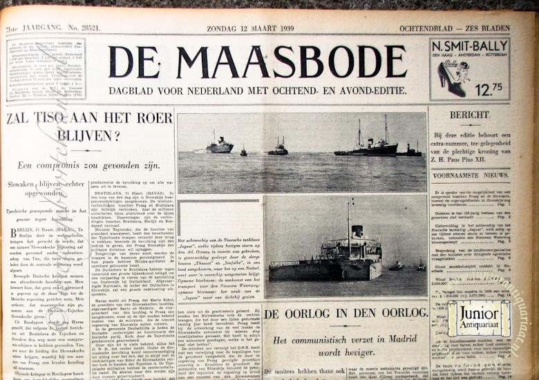 krant geboortedag titel De Maasbode