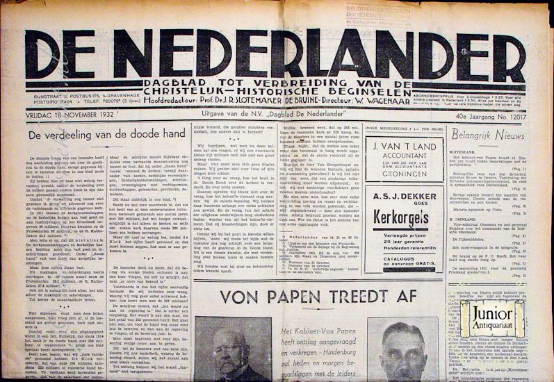 Krant geboortedag De Nederlander (25-11-1924), een mooi cadeau voor jubileum of verjaardag