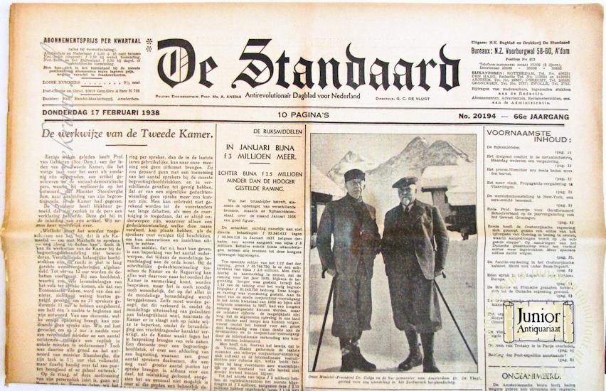 Krant geboortedag De Standaard (25-11-1924), een mooi cadeau voor jubileum of verjaardag