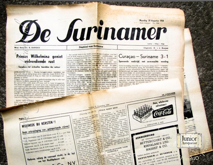 krant geboortedag titel De Surinamer
