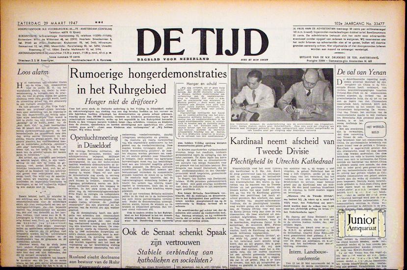 Krant geboortedag De Tijd  (25-11-1924), een mooi cadeau voor jubileum of verjaardag