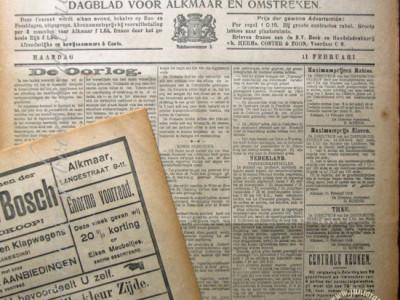 Alkmaarsche Courant krant geboortedag als jubileumscadeau