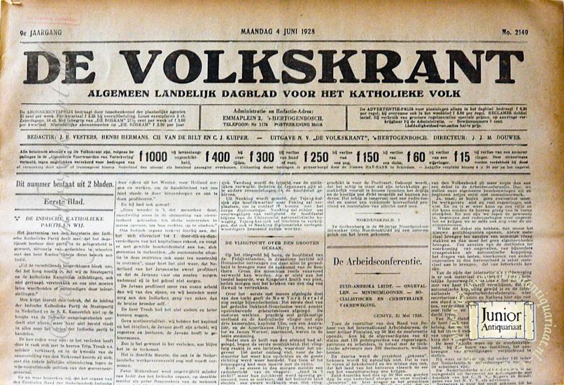 Krant geboortedag De Volkskrant (05-05-1926), een mooi cadeau voor jubileum of verjaardag