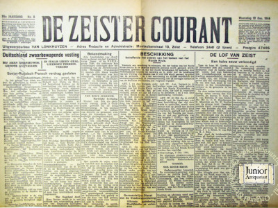 De Zeister courant krant geboortedag als jubileumscadeau