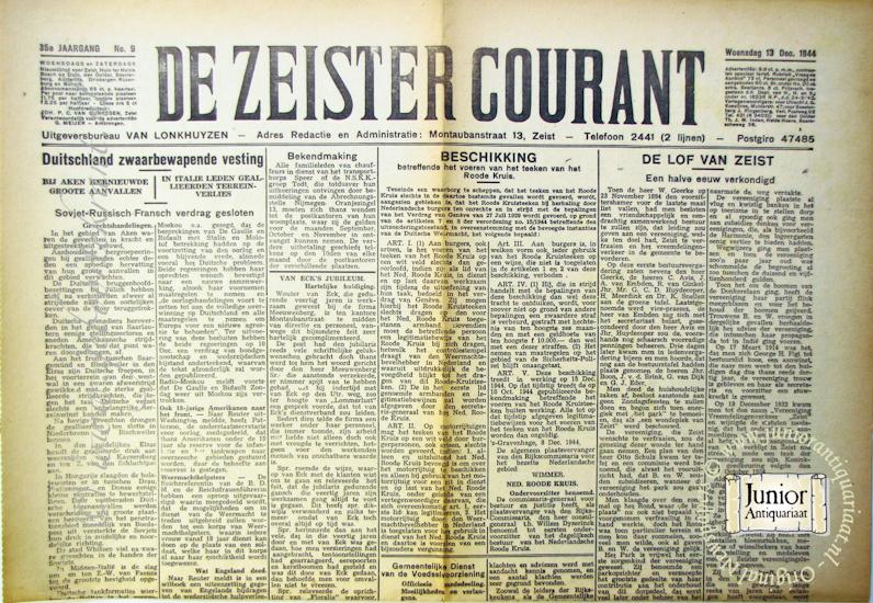 krant geboortedag titel De Zeister courant