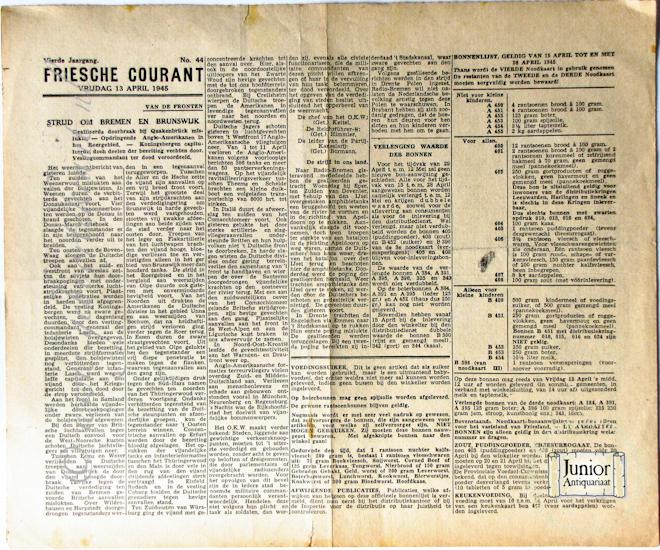 krant geboortedag titel Friesche courant