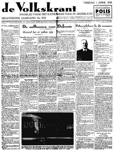 Voorpagina De Volkskrant 01-04-1938