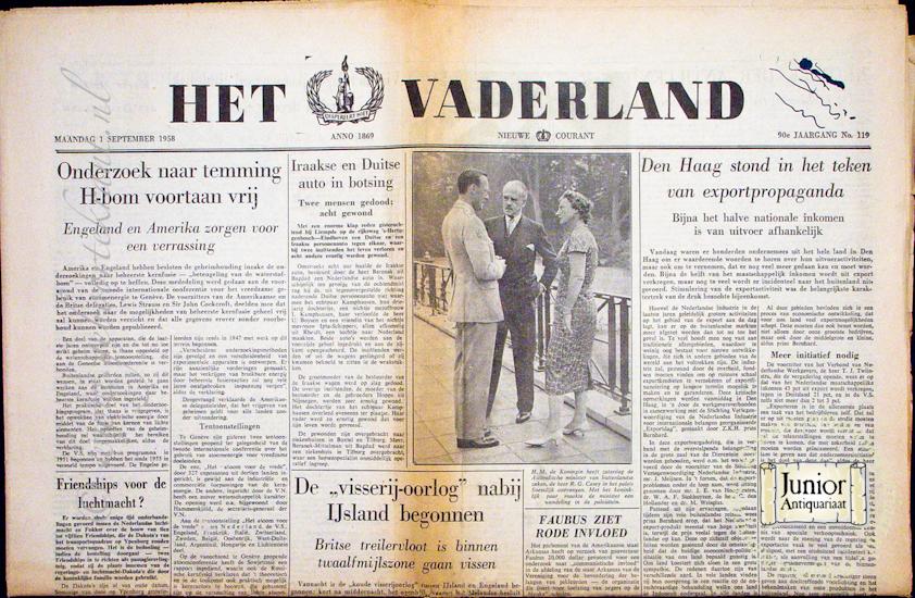 Krant geboortedag Het Vaderland (25-11-1924), een mooi cadeau voor jubileum of verjaardag