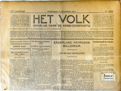Het Volk krant geboortedag als jubileumscadeau
