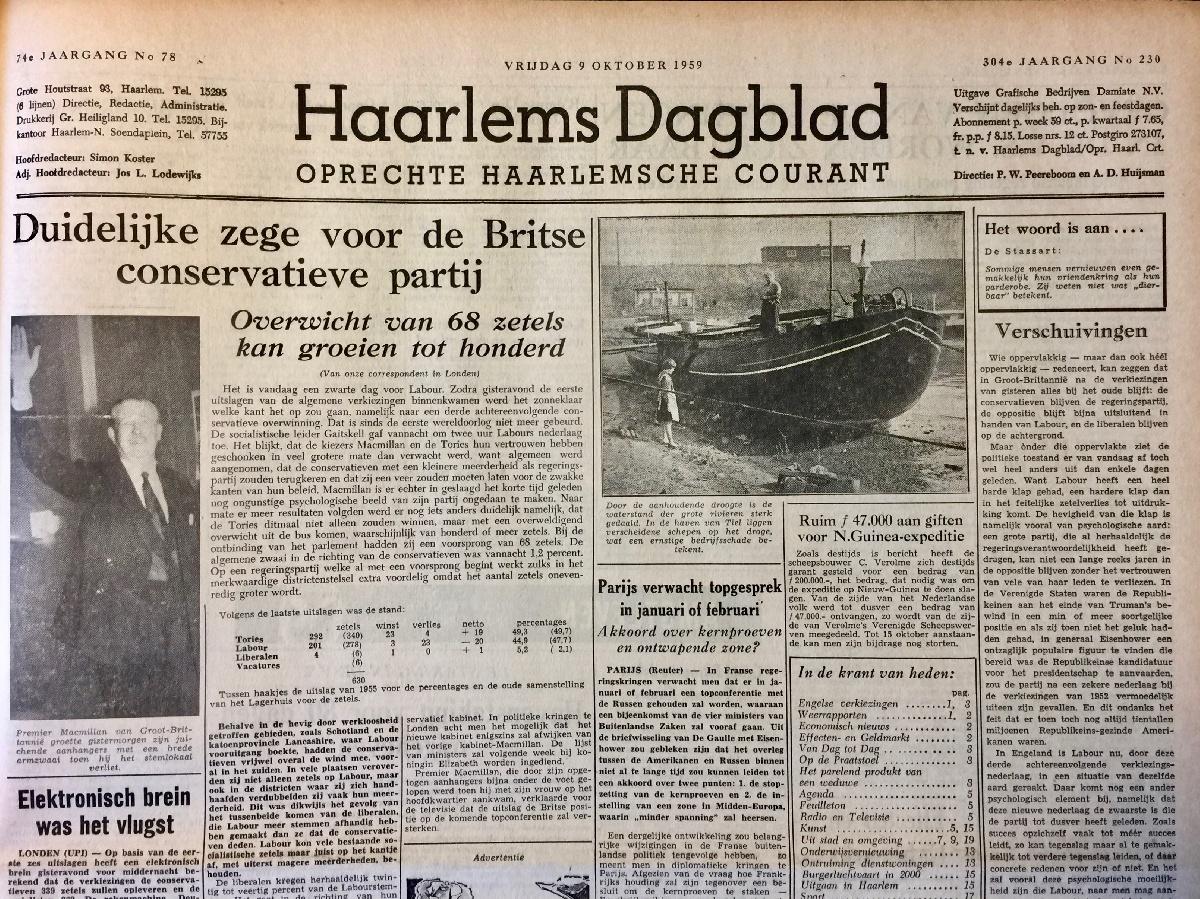 Krant geboortedag Haarlem's Dagblad (25-11-1924), een mooi cadeau voor jubileum of verjaardag