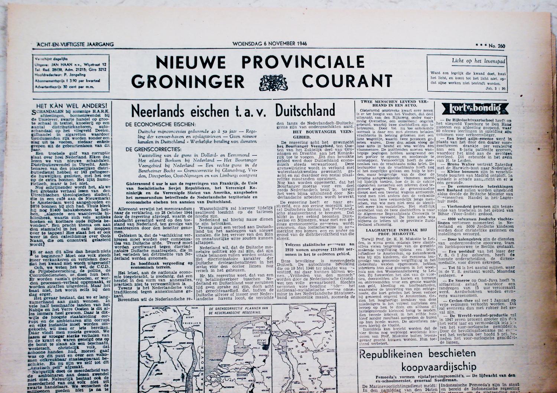krant geboortedag titel Nieuwe Provinciale Groninger Courant