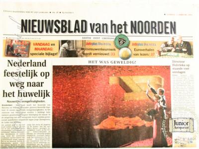 Nieuwsblad van het Noorden krant geboortedag als jubileumscadeau