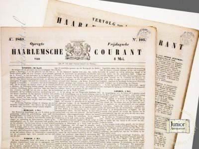Opregte Haarlemsche Courant krant geboortedag als jubileumscadeau