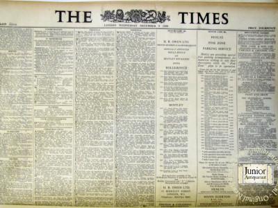 The Times krant geboortedag als jubileumscadeau