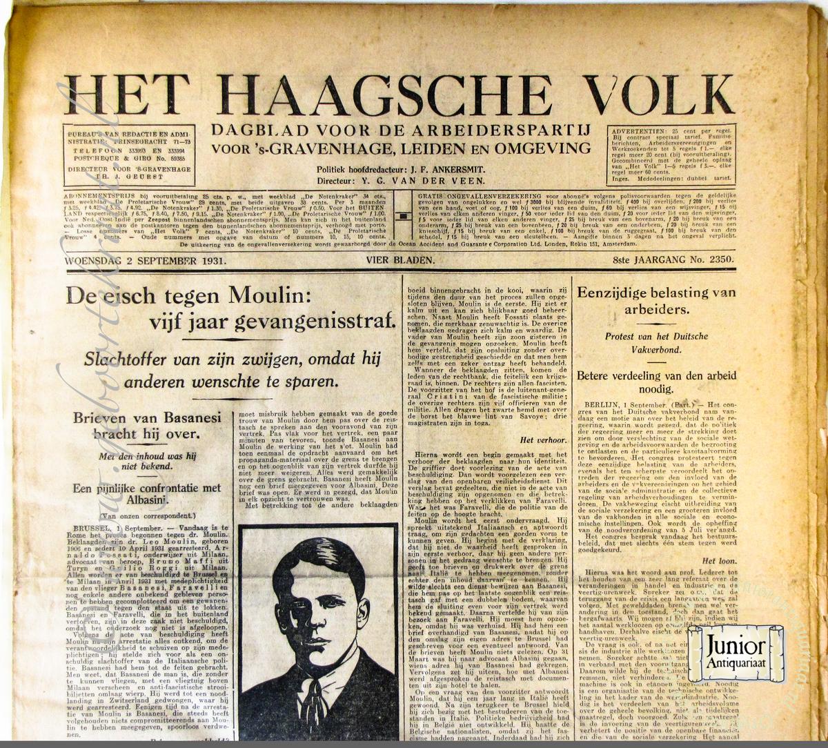 Krant geboortedag Het Haagsche Volk (05-05-1926), een mooi cadeau voor jubileum of verjaardag