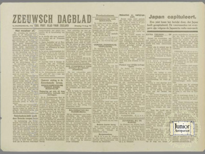 Zeeuwsch Dagblad krant geboortedag als jubileumscadeau