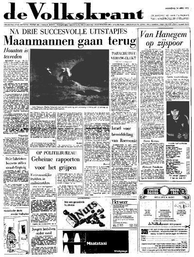 Voorpagina De Volkskrant 24-04-1972