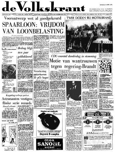 Voorpagina De Volkskrant 25-04-1972