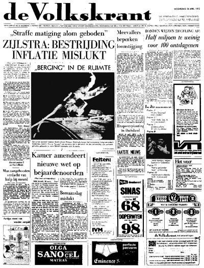 Voorpagina De Volkskrant 26-04-1972
