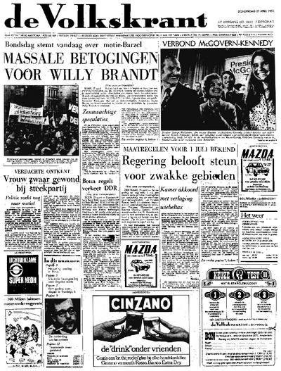 Voorpagina De Volkskrant 27-04-1972
