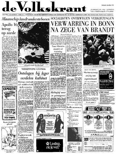Voorpagina De Volkskrant 28-04-1972
