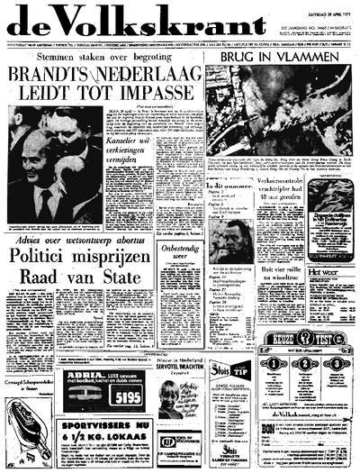 Voorpagina De Volkskrant 29-04-1972