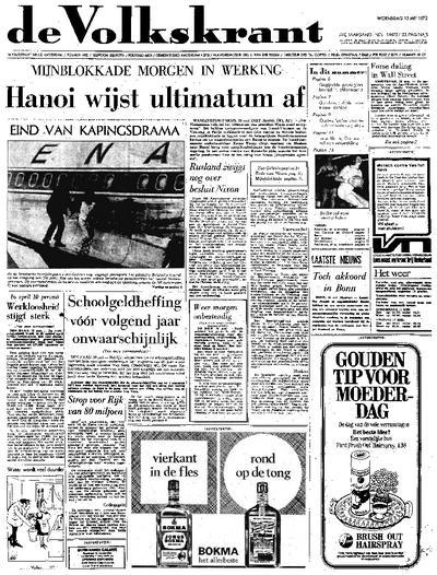 Voorpagina De Volkskrant 10-05-1972