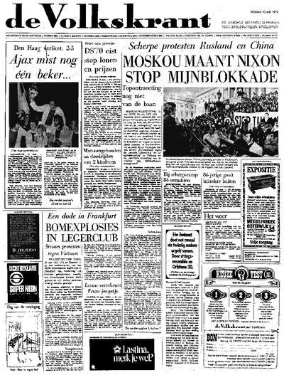 Voorpagina De Volkskrant 12-05-1972