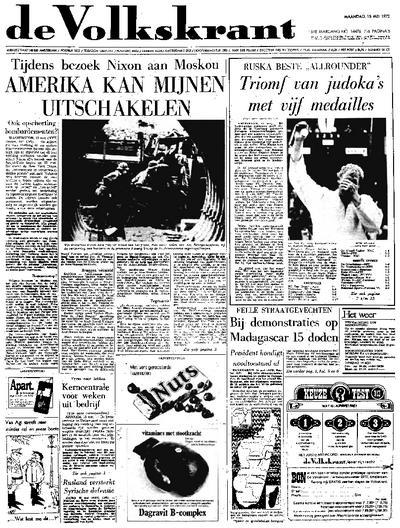 Voorpagina De Volkskrant 15-05-1972