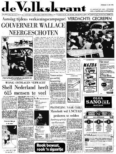 Voorpagina De Volkskrant 16-05-1972