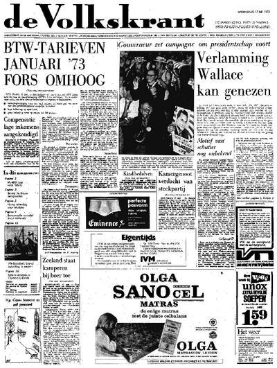 Voorpagina De Volkskrant 17-05-1972