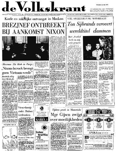 Voorpagina De Volkskrant 23-05-1972