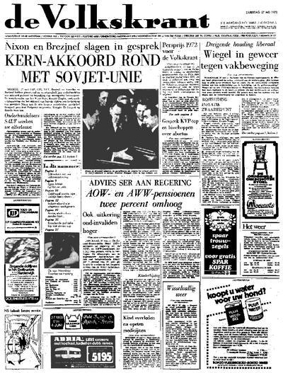 Voorpagina De Volkskrant 27-05-1972