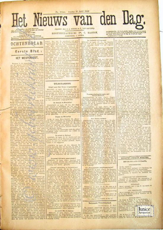 Krant geboortedag Het nieuws van den dag (13-05-1921), een mooi cadeau voor jubileum of verjaardag